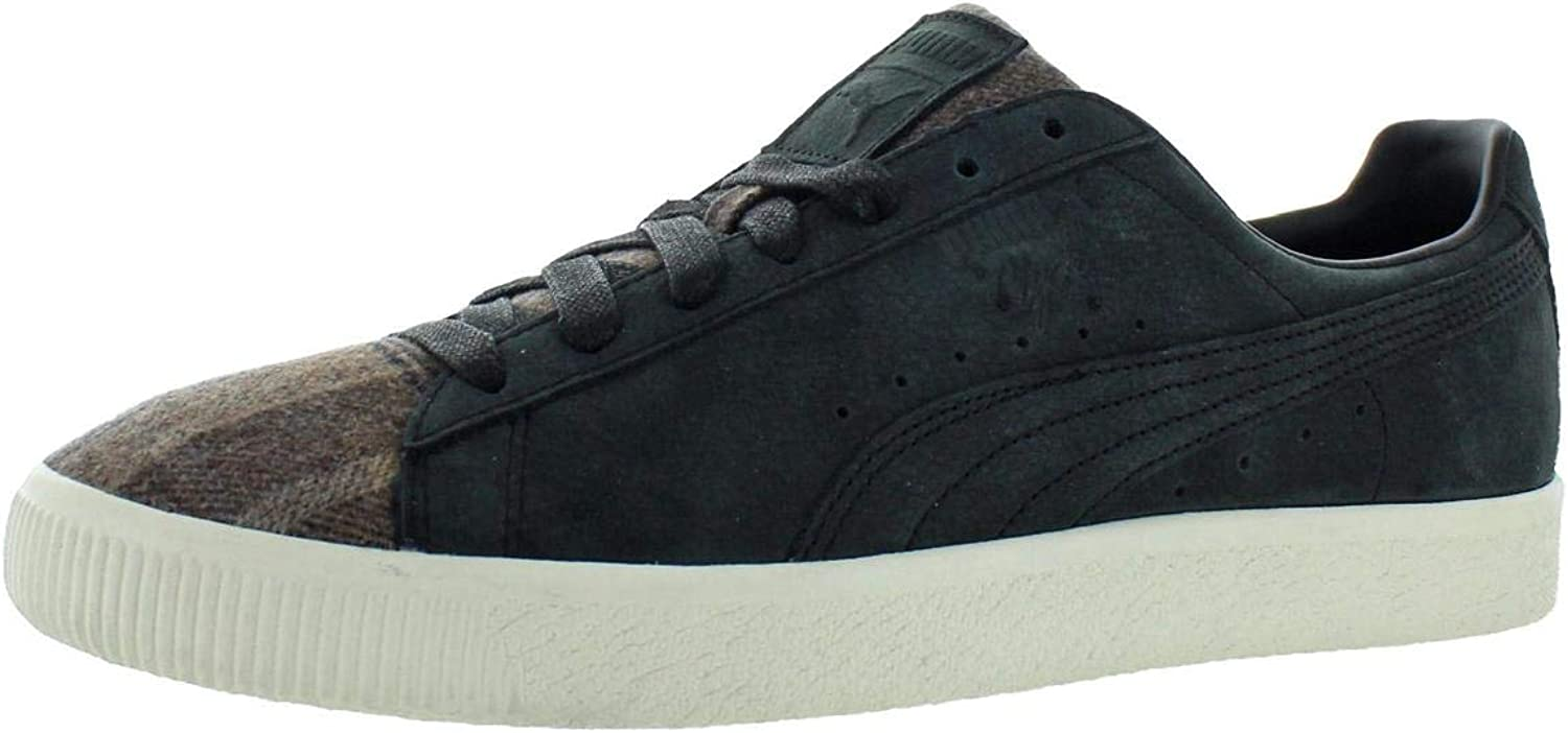 PUMA Mens Clyde Plaid Leather Low-Top Casual shoes