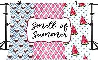 写真の夏のHDの香り7X5FTの縞模様の背景フルーツスイカココナッツジュース写真の背景パーティーウォールペーパールーム壁画小道具BJQQPH150