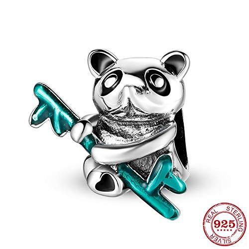 DASFF Mascotje 925 sterling zilver schat dier panda met bamboe bedels parels passen originele bedelarmbanden edele sieraden