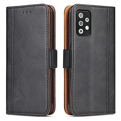 Generic Funda para Samsung A72, funda de piel para Samsung Galaxy A72, funda para teléfono móvil, funda con tapa y tarjetero y cierre magnético (negro)