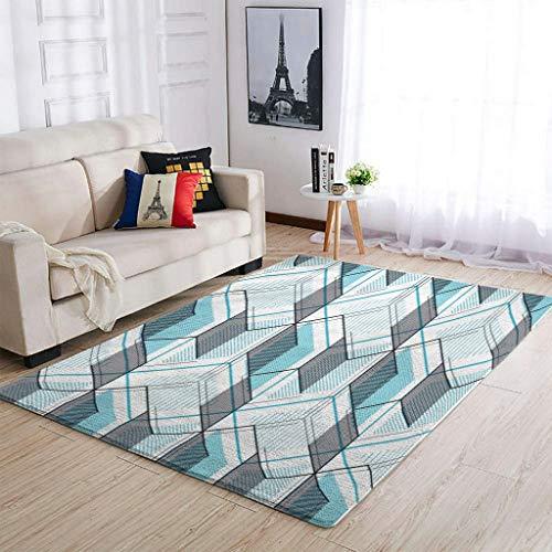 Alfombra con patrones geométricos antideslizantes para el hogar, 50 x 80 cm, color blanco