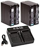 BM Premium 2 NP-F970 High Capacity Batteries and Dual Bay Battery Charger for Sony PXW-Z150, Z190, Z280, NEX-EA50M, FDR-AX14K, HDR-AX2000, FX1000, HVR-HD1000, Z7U, HXR-NX5U, MC2000U, MC2500, HXR-NX100