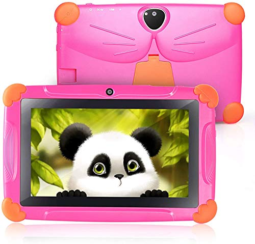 Tableta infantil Carrvas WiFi Android 8.1 GMS certificada, Google Play preinstalada, 7 pulgadas, tabletas de control parental con software para niños, seguro para niños (rosa rojo)