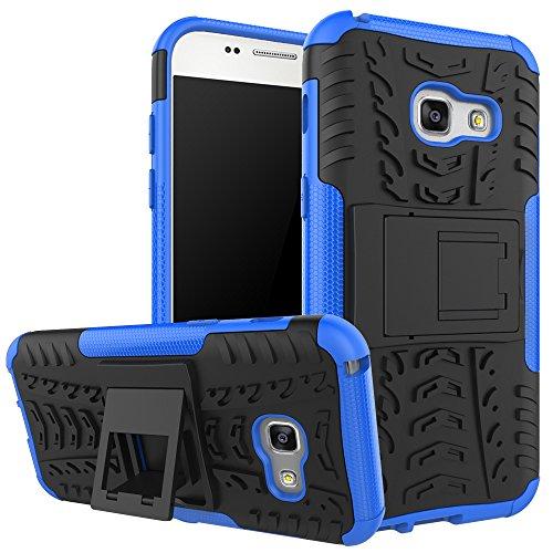 QIVSTAR for Samsung Galaxy A3 2017 Heavy Duty Combo Hybrid{PC+TPU} Case Cool Style Armor Anti-Fall Case with Kickstand for Samsung Galaxy A3 2017, Hyun-Blue