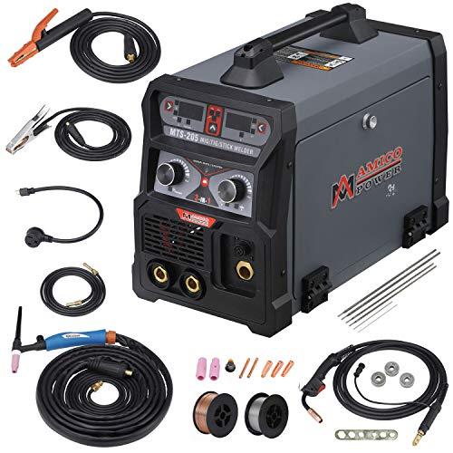 MTS-205 205 Amp MIG/TIG-Torch/Stick Arc Combo Welder, Weld Aluminum(MIG) 110/230V Dual Voltage...