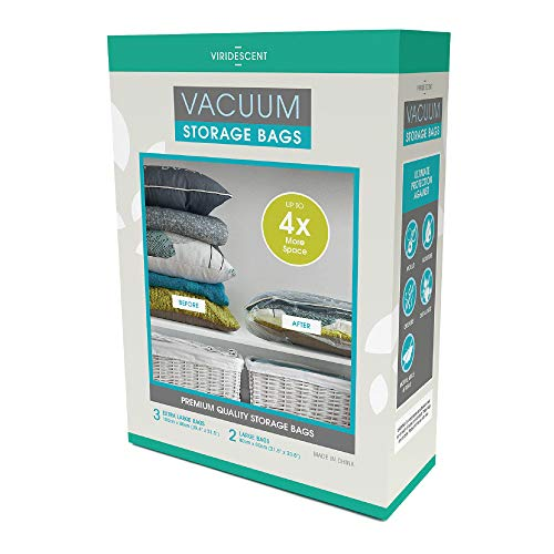 Viridescent Reusable Vacuum Storage Bags with ZipSeal - 35% Thicker Plastic - Create 4 x More Storage Space - 5 pack, 2 x Large and 3 x Jumbo/Extra Large