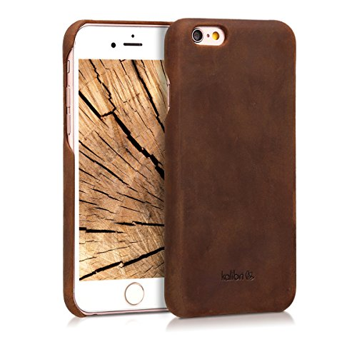 kalibri Hülle kompatibel mit Apple iPhone 6 / 6S - Leder Handy Cover Case - Hardcover Schutzhülle Braun
