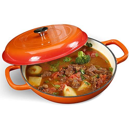 COOKWIN Cast Iron Casserole Braiser, Heavy Duty Casserole Skillet with Lid and Dual Handles, Porcelain Enameled Surface Cookware Pot, 3.7QT, Orange