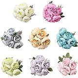Vdn Djvn - Flores artificiales de tela con 7 cabezas de peonía artificial, ramo de hojas de flores de seda para bodas, decoración para el hogar, librería y café, 8 x 30 cm, color gris azul