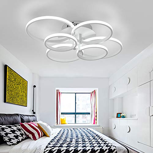 LightInTheBox 6 Lights LED Ring Ceiling Light Painting Finish Modern/Contemporary Flush Mount Lighting Fixture for Home Living Room, Bedroom Decoration Bulb Included (White)