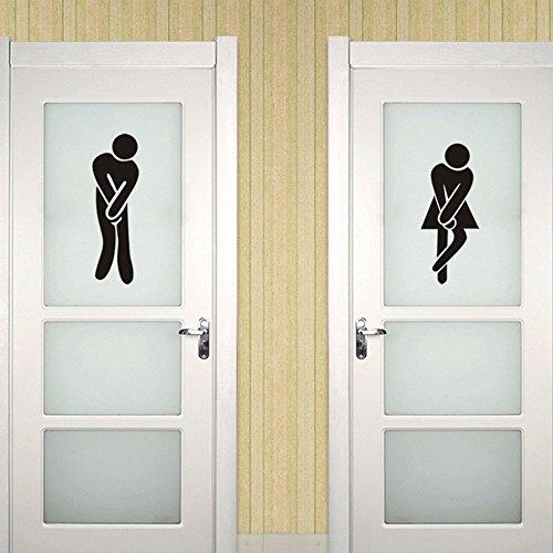 ufengke Unisexo Toilet Firmar Puertas Pegatinas de Pared Adhesivos de Pared de Vinilo Negro DIY Decorativo Extraíble Male & Female Logo Entrance Common Use Comfort Room para Hombres y Mujeres