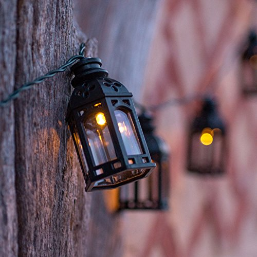 16er LED Solar Lichterkette Marokkanische Laterne schwarz