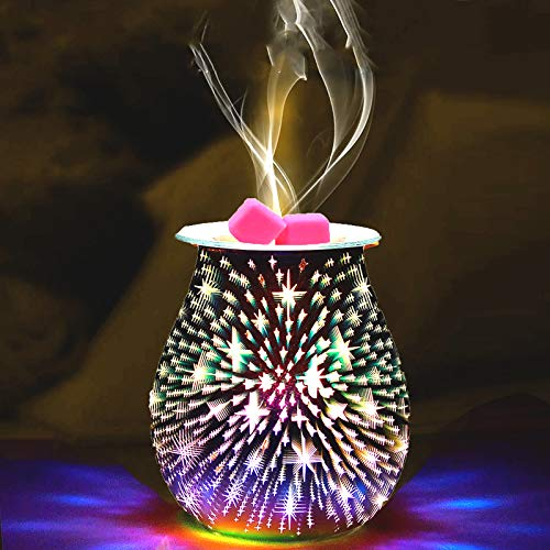 Ourleeme 3d Electric Wax Burner - Electric Oil Burners - Electric Wax Melt Burners with Light 3d Firework Aroma Lamp for Decoration & Bedroom & Home - Star