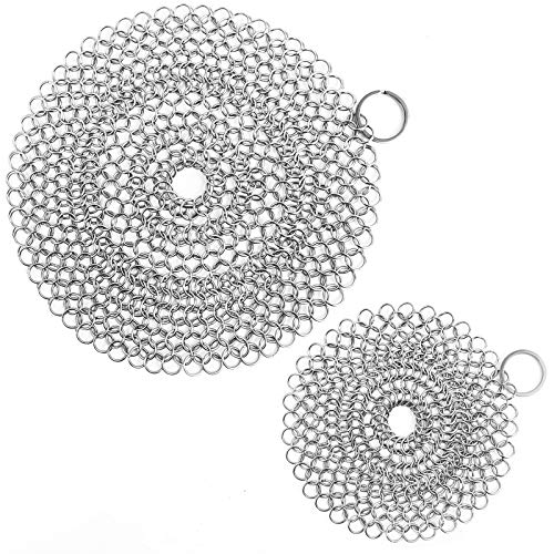 ONEEKK Cast Iron Skillet Cleaner Chainmail,2 Pack Premium Stainless Steel Chain Maille Scrubber for Cast Iron Pans,Stainless Steel,Glassware(7IN &5IN Round)