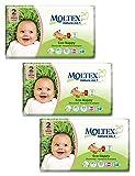 3x MOLTEX Nature No1 Ökowindeln Babywindeln MINI Gr 2 (3-6 kg) 44 Stück Peanuts
