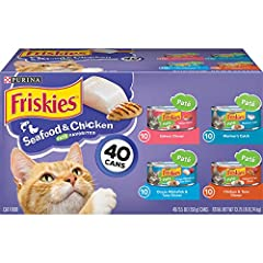 Forty (40) 5.5 Ounce Cans Purina Friskies Pate Seafood & Chicken Variety Pack Adult Wet Cat Food Made With Seafood And Poultry Smooth Pate Texture Tempts Her To Her Dish Delicious Taste She Can'T Resist. Taurine helps support, healthy vision Provides...
