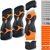 3 Pack Double Edge Razor Blade Scraper Set with 20 Pcs Replacement Scraper Blades, Multi-Purpose Scraper Cleaning Tool for Scraping Labels, Decals, Stickers, Paint from Glass, Stovetop, Subfloor