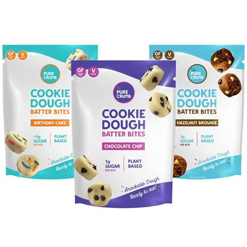 Plant Based Cookie Dough Batter Bites by Pure Crumb – Edible No Bake Snack, Low Sugar (1g), Keto Friendly, Vegan, Gluten-Free, Dairy-Free (Variety Pack, 3.46 Ounce (Pack of 3))