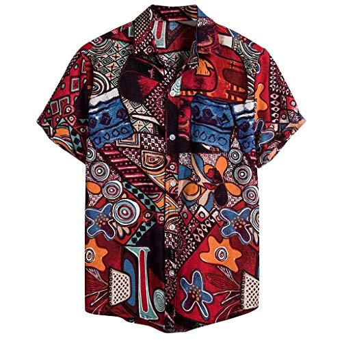 Writtian Hawaiihemd Herren Kurzarm Front-Tasche Hawaii-Print Magnum Tom Selleck Verschiedene Designs Hawaiihemden Hemd Kurzarm freizethemden S-XXL