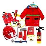 rosemaryrose Costume da 12 Pezzi per Bambini, Costume Costume da Pompiere per Costume da Vigile del Fuoco, Costume da Neonato Gioco di Ruolo Set da Gioco