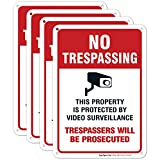 Video Surveillance Sign, No Trespassing Sign, Security Warning Sign, 10x7 Heavy 0.40 Aluminum, (4 Pack) UV Protected, Fade Resistant, Easy Mounting, Indoor/Outdoor Use, Made in USA by SIGO SIGNS