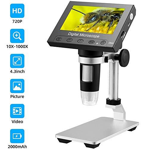 April Story Microscopio USB LCD Digital HD 720P 5MP Clip Fijo Pantalla LCD de 4.3 '' Digital para Placa de Circuito Microscopio Industrial