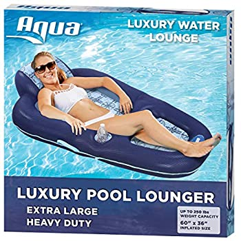 Aqua Luxury Water Lounge X-Large Inflatable Pool Float with Headrest Backrest & Footrest Navy/Light Blue