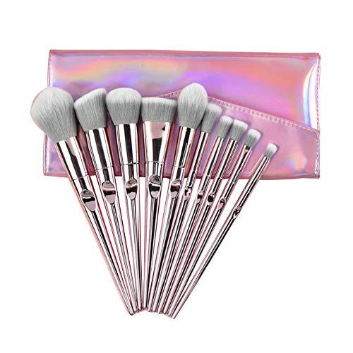 GUOCU Lot De 10 Pinceaux De Maquillage Synthétiques De Qualité Supérieure Pour Fond De Teint,Kabuki,Blush,Correcteur,Fard À Paupières Pinceaux+Sac 10PCS