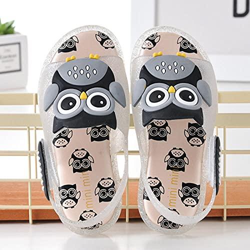 LIKEJJ Sandalias Infantiles Owl Owl LED Flash Girls Sandalias Jelly Boys Sandalias-Plata_25EU