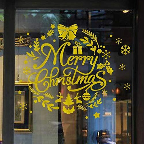 Merry Christmas Weihnachten Fensterbilder Dasongff Wandaufkleber Rentier Schneeflocke Buchstaben Wand Stickers Fenster Glas Vitrine Elegant Applique (I, 1 PC)