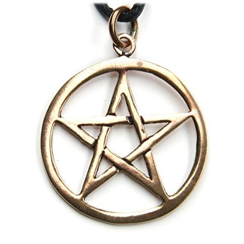 Pentagramm Schmuck Kette Hexenstern Anhänger aus Bronze inkl Band Drudenfuß im Kreis