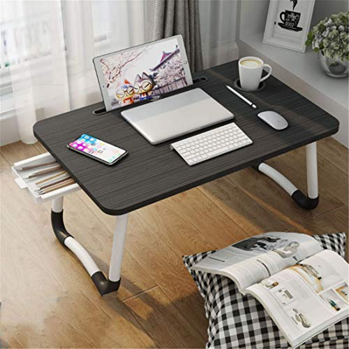 Laptop Desk Foldable Laptop Bed Table Multi-Function Lap Table with Storage Drawer and Water Bottle Holder, Serving Tray Dining Table with Slot for Eating Breakfast, Working on Bed/Couch/Sofa