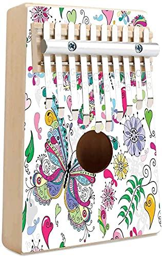 Dragonfly Kalimba 10 teclas Piano de pulgar Mariposa Libélula Paisley Motivos complejos con diversas líneas Imagen artística Mbira Piano de dedo Regalo para niños, adultos, principiantes, profesional