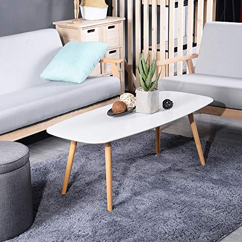 GreenForest Coffee Table Modern Oval Cocktail Center Table for Living Room in White Easy Assembly, 43.3'x19.6'x17.3'