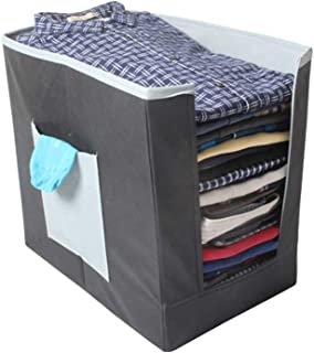 PrettyKrafts Shirt Stacker Closet Organizer - Shirts and Clothing Organizer - Exile - (Big) Grey and Black