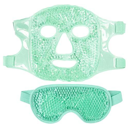 Casinlog 1 Juego Mascarilla para Ojos Gel de Hielo + Juego de Mascarilla Reutilizable para Terapia de FríO Caliente Calmante Relajante Gafas de Hielo para Dormir para Dormir Verde