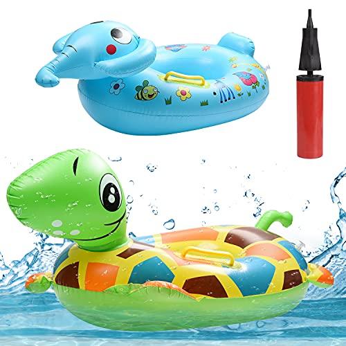 Herefun Baby Schwimmring, 2PCS Baby Schwimmenring Aufblasbar, Aufblasbarer Kinder Schwimmreifen, Baby Schwimmhilfe Schwimmsitz Kinderboot Schwimmbad mit Handpumpe für Alter 1-5 Jahre Kleinkind
