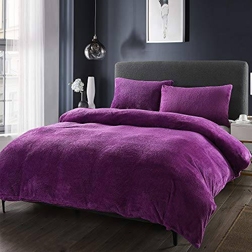 EVELYN LIVING Teddy Fleece Duvet Cover with Pillow Case Set Thermal Super Soft Warm Cosy Bedding Set Polyester Fleece Fluffy Cooler Nights Snuggly Bear (Purple, Single)