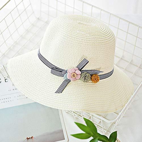 Grtodnz Damen und Kinder Sonnenhut Sommer Fischer Hut Faltbare Blumen Strohhut Sommer Strand Hut UPF 50,D-M(Adult)