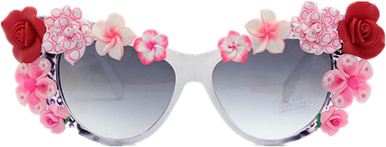 LIDESMUKG Summer Beach Lady's Flower Sunglasses Cat Eyes UV Predection Driving Vacation Sunglasses