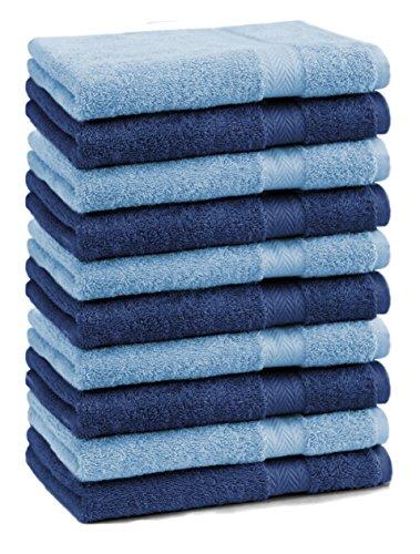 Betz Lot de 10 Serviettes débarbouillettes lavettes Taille 30x30 cm 100% Coton Premium Couleur Bleu foncé et Bleu Clair
