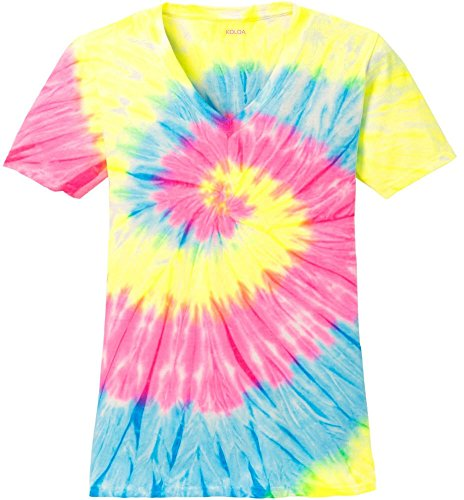 Joe's USA Koloa Surf Ladies Colorful Tie-Dye V-Neck T-Shirt-Neon-XL