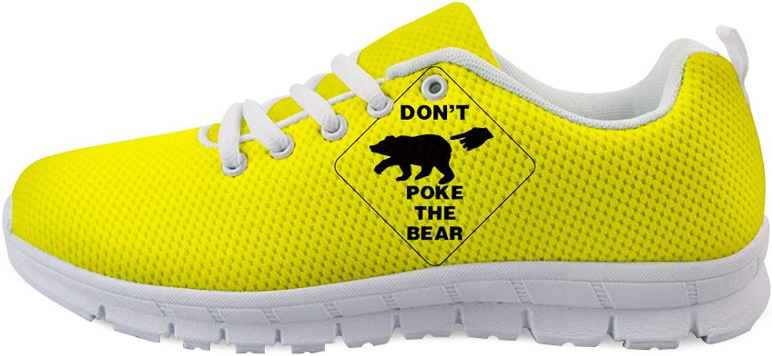 Owaheson Lace-up Sneaker Training shoes Mens Womens Don't Poke The Bear Warning