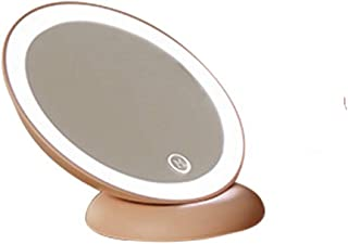 YXZQ Makeup Mirror, Opposite Mirror Portable Mirror Portable Folding Mirror with lamp LED Bedroom Bedside Simple Makeup Pr...