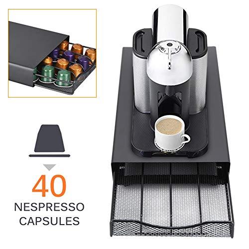 QXM Durable Coffee Stand Rack Schubladen Kapsel Veranstalter Kaffeekapsel Halter Dolce Gusto/Lavazza/Nespresso Kaffeekapseln Regal,Schwarz