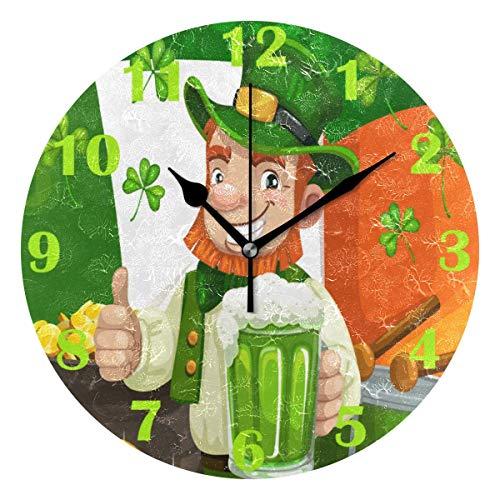 Jacque Dusk Reloj de Pared Moderno,Leprechaun Beer Gold St Patrick Irish Shamrock,Grandes Decorativos Silencioso Reloj de Cuarzo de Redondo No-Ticking para Sala de Estar,25cm diámetro