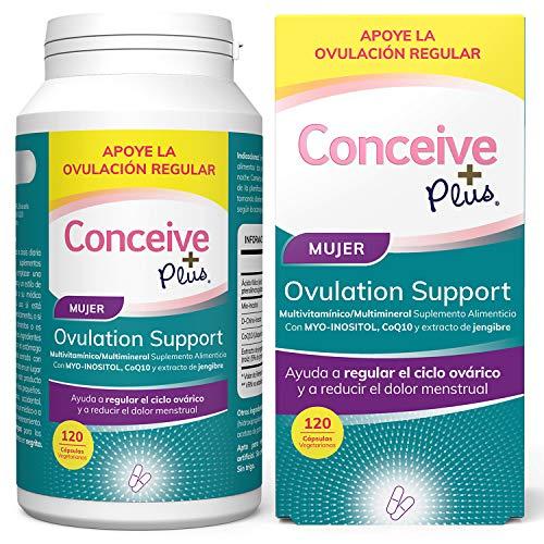 Conceive Plus Soporte de Ovulación, irregularidades hormonales, Myo-inositol, CoQ10, extracto de folato y jengibre, SOP 120 cápsulas