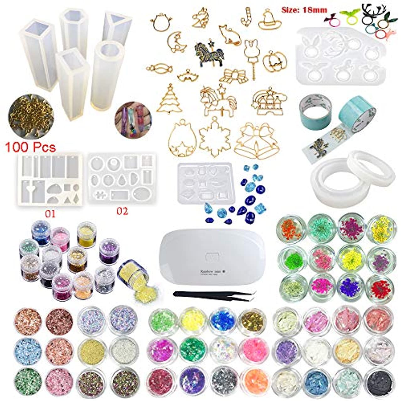Jewelry Earrings Necklace Bracelet Making, 11 Molds 60 Decoration Dry Flower Sequins Stickers, Mini Pretty Irregular shell, Marble Fragments and Beads, 17 Bezel with 2 adhesive tapes, Mini Lamp