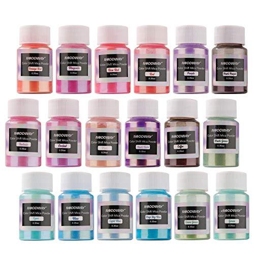 NODDWAY Metallic Color Shift Pigment Powder 18 Colors Pearl Fine Mica Powder, Epoxy Resin Dye for Resin Jewelry Art, Tumbler Making,DIY Slime