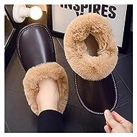 レディース豪華なフリースの裏地の靴屋内、ベルベットの綿の靴、滑り止めの暖かいスリッパ - UK7 - UK7.5、レディース豪華なフリースの裏地の靴 (Color : Dark Brown, Size : UK6-UK6.5)